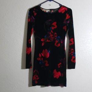 Black Velvet Floral Long sleeve Dress Small